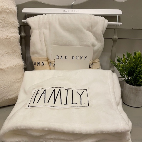 Rae Dunn Plush Throw with Patch